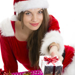 Christmas girl sharing packages